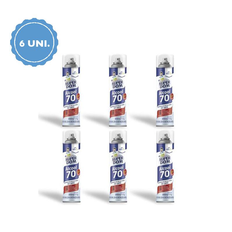 KIT 6 Unidades - Álcool 70 Teor em Spray 300ml - Domline  - Higinet