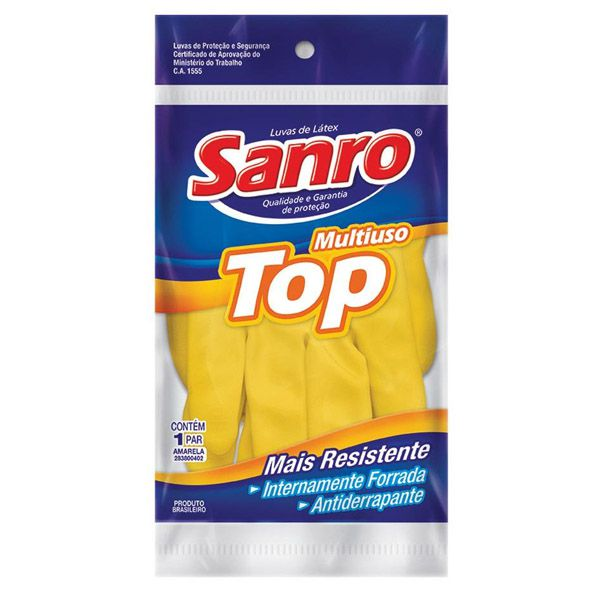 Luva para Limpeza Sanro Top Amarela Forrada - Pequena  - Higinet