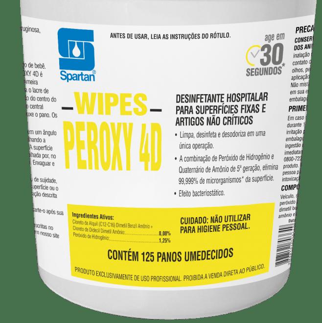 Pano Umedecido com Desinfetante Peroxy 4D c/ 125 panos  - Higinet