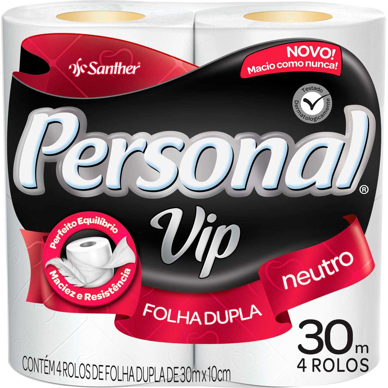 Papel Higiênico Personal VIP Folha Dupla c/4 Rolos Santher  - Higinet