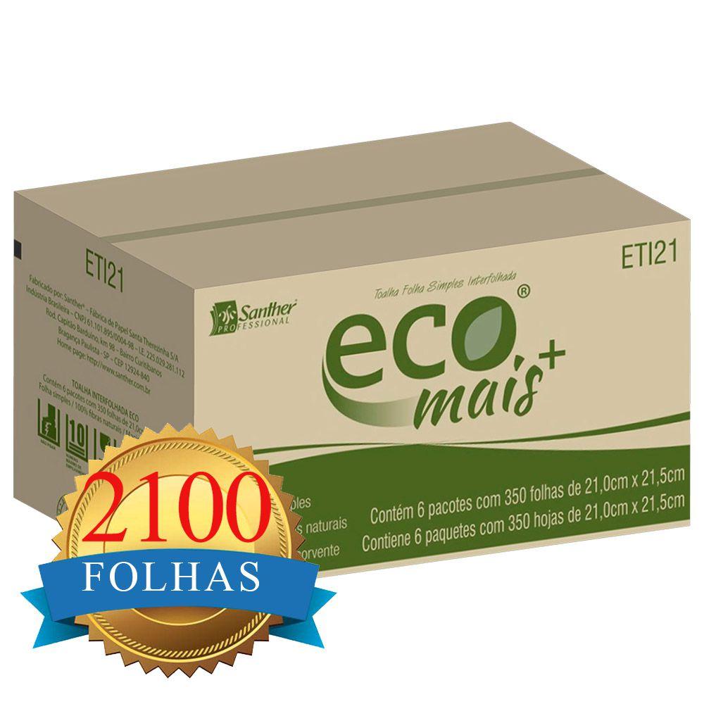 Papel Toalha Interfolha Folha Simples c/2100 folhas - Santher ETI21  - Higinet