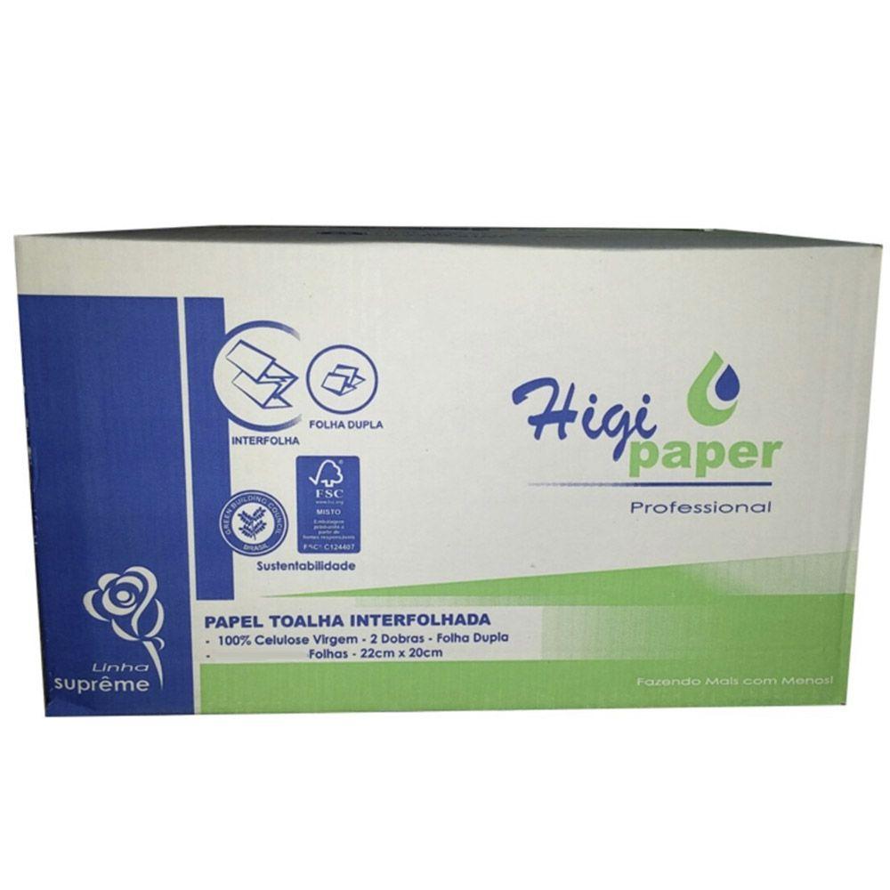 Papel Toalha Interfolhado Folha DUPLA c/ 2400 folhas - Higipaper 100% Celulose  - Higinet