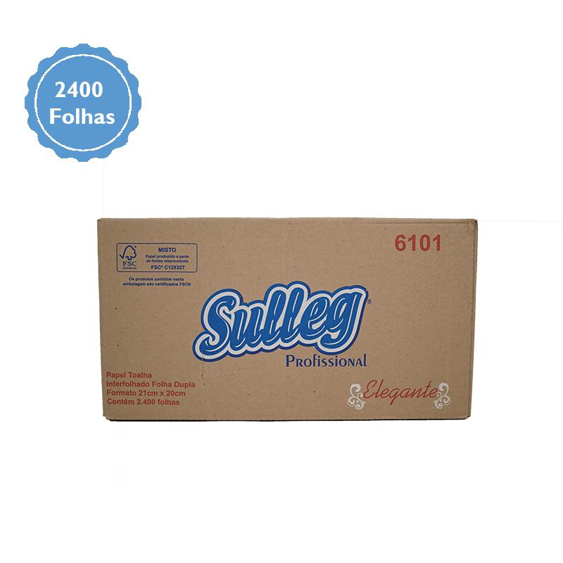 Papel Toalha Interfolhado Folha DUPLA c/ 2400 folhas -  SULLEG 100% Celulose  - Higinet