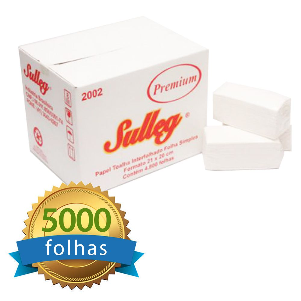 Papel Toalha Interfolhado 100% Celulose Folha Simples c/5000 folhas - Premium  - Higinet