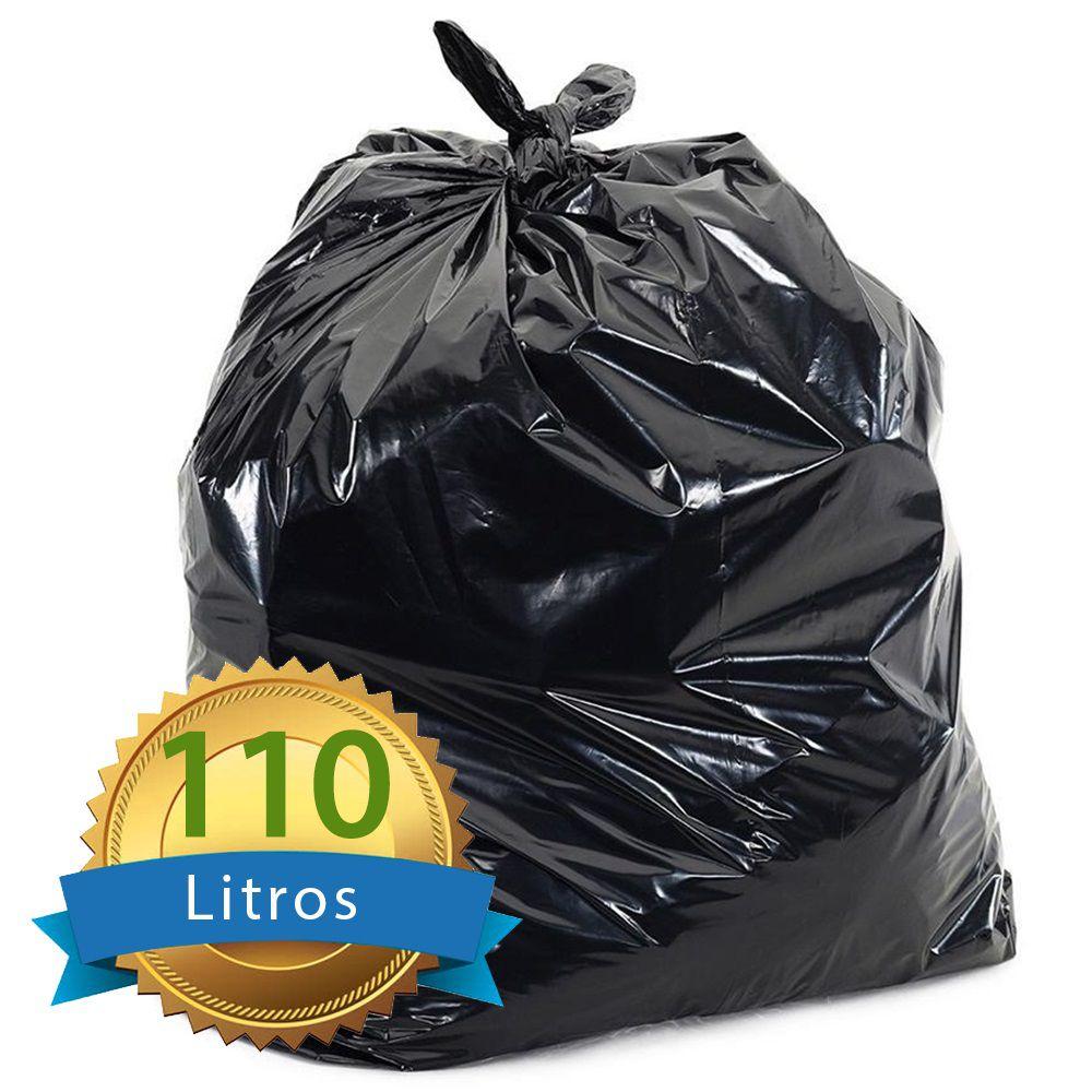 Saco De Lixo Preto Reforçado 110L com 50 Unidades 80x100cm  - Higinet