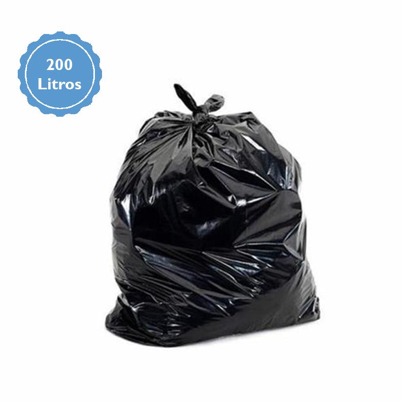Saco De Lixo Preto Reforçado 200L com 60 Unidades 92x120cm  - Higinet