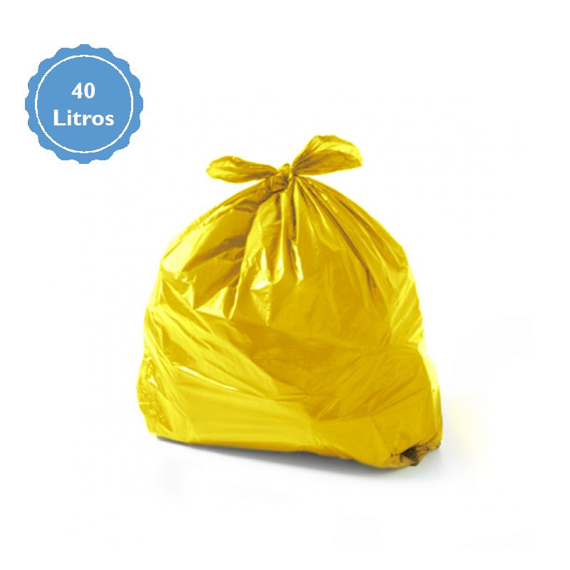 Saco Para Lixo Capacidade 40 Litros (1,5Kg P1,5) Amarelo  - Higinet