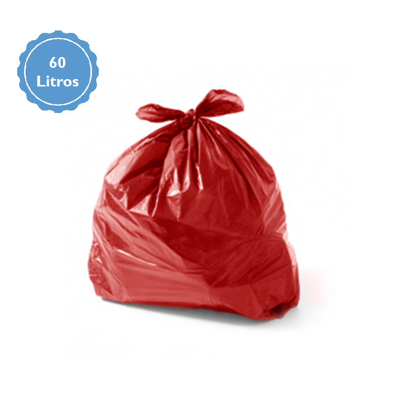Saco Para Lixo Capacidade 60 Litros (2Kg P2) Vermelho  - Higinet