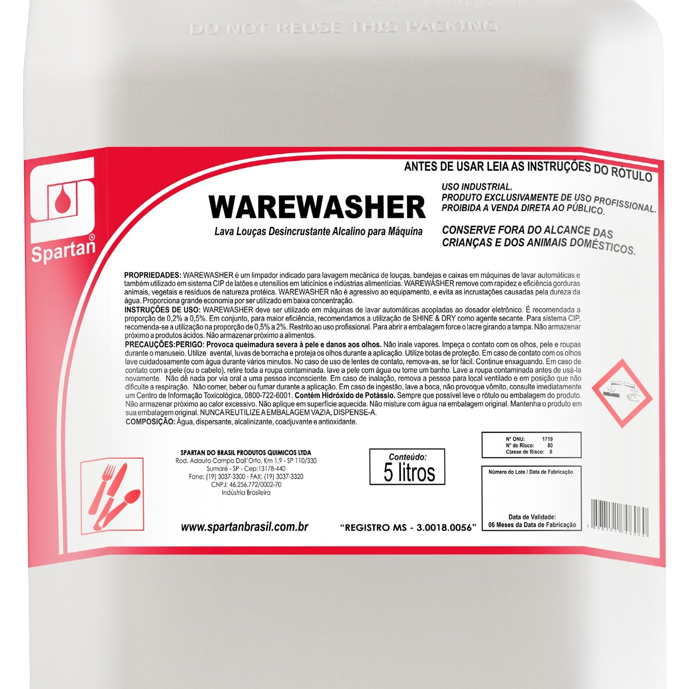 Warewasher lava louças 5 Litros Spartan  - Higinet