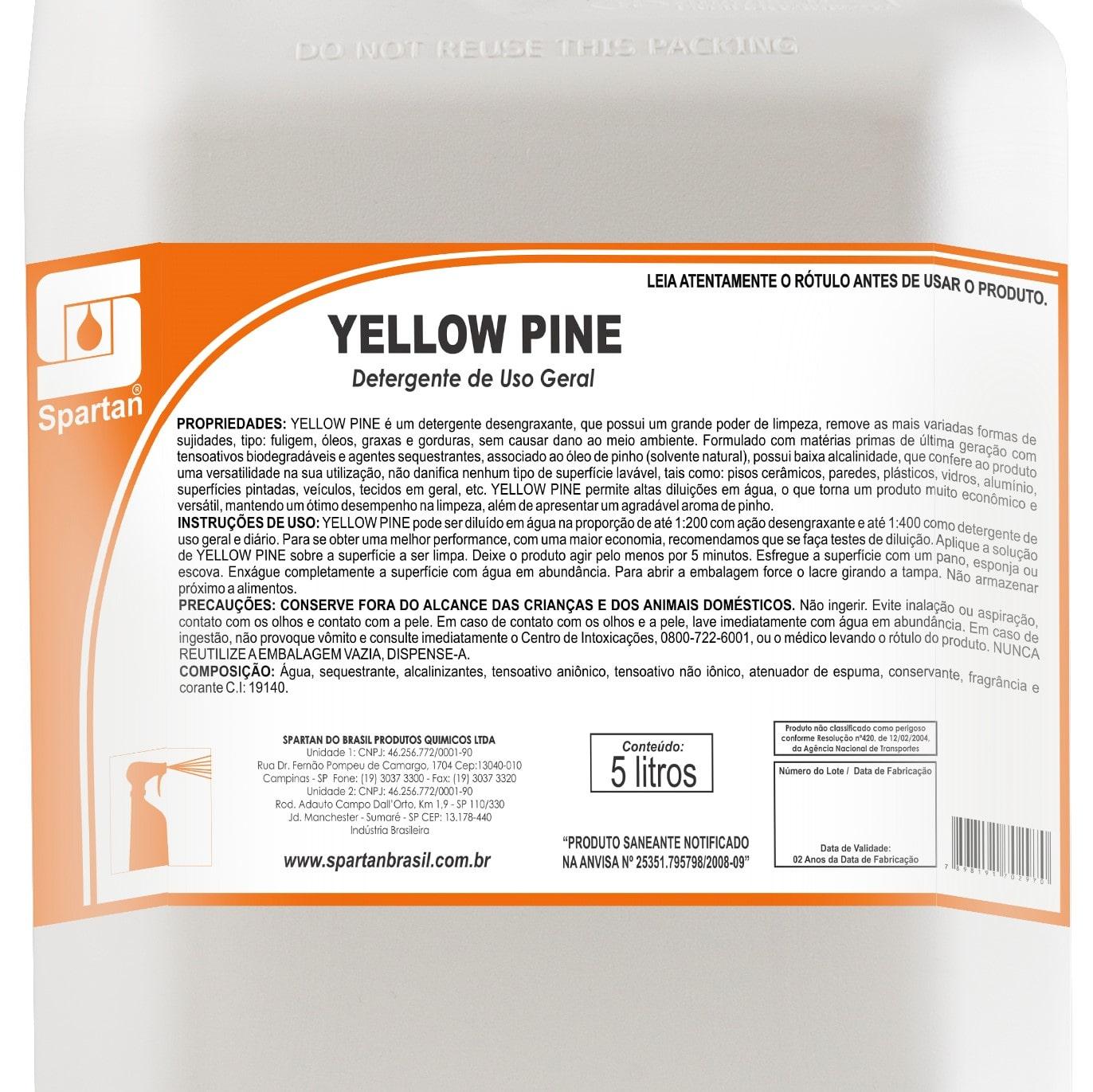 """Yellow Pine Detergente Desengraxante 5 Litros - """"Rende até 2.000 Litros""""  - Higinet"""