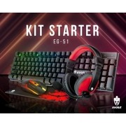 KIT STARTER GAMER TECLADO + MOUSE + FONE + MOUSE PAD - EG51 EVOLUT