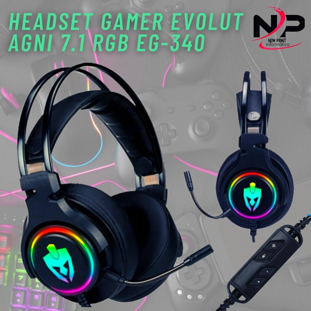 FONE DE OUVIDO HEADSET GAMER EVOLUT AGNI 7.1 EG-340 RGB