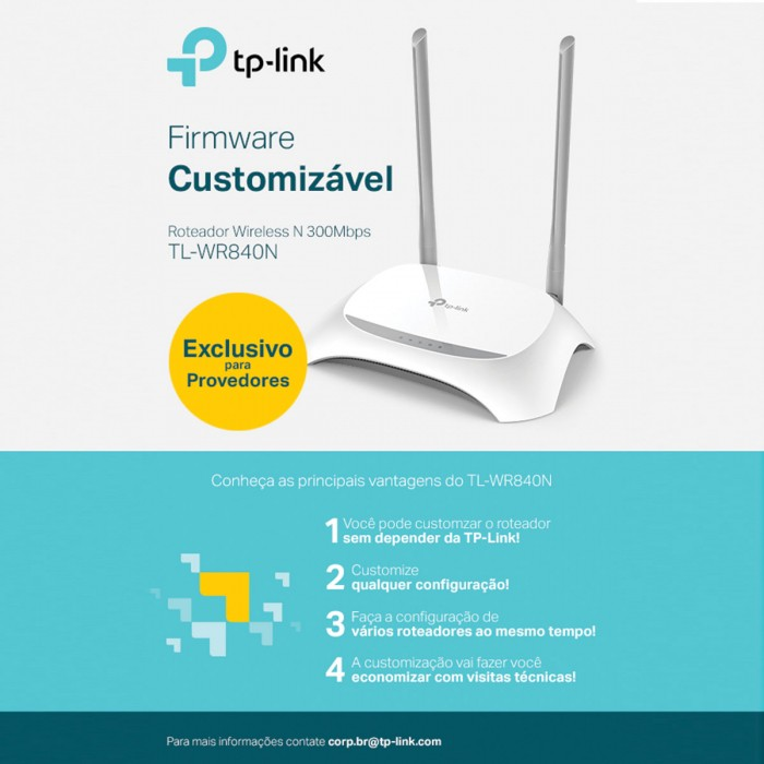 ROTEADOR WIRELESS N 300MBPS TL-WR840NW