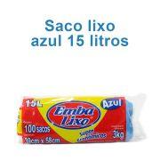 Saco de Lixo de 15 litros - Super Econômico Azul - Embalixo - 1 rolo c/ 100 sacos