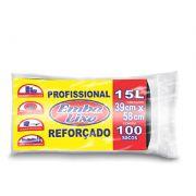 Saco de Lixo de 15 litros - Super Econômico Preto - Embalixo - 1 rolo c/ 100 sacos