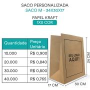 SACO PERSONALIZADO PAPEL KRAFT PARDO ¨M¨ - 34x30x17