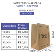 SACO PERSONALIZADO PAPEL KRAFT PARDO ¨P¨ - 26x25x12