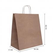 """Sacola de Papel Kraft Delivery """"G1"""" 34x30x17 cm   1 cx c/ 100 unid  R$ 0,98 Á UNID"""