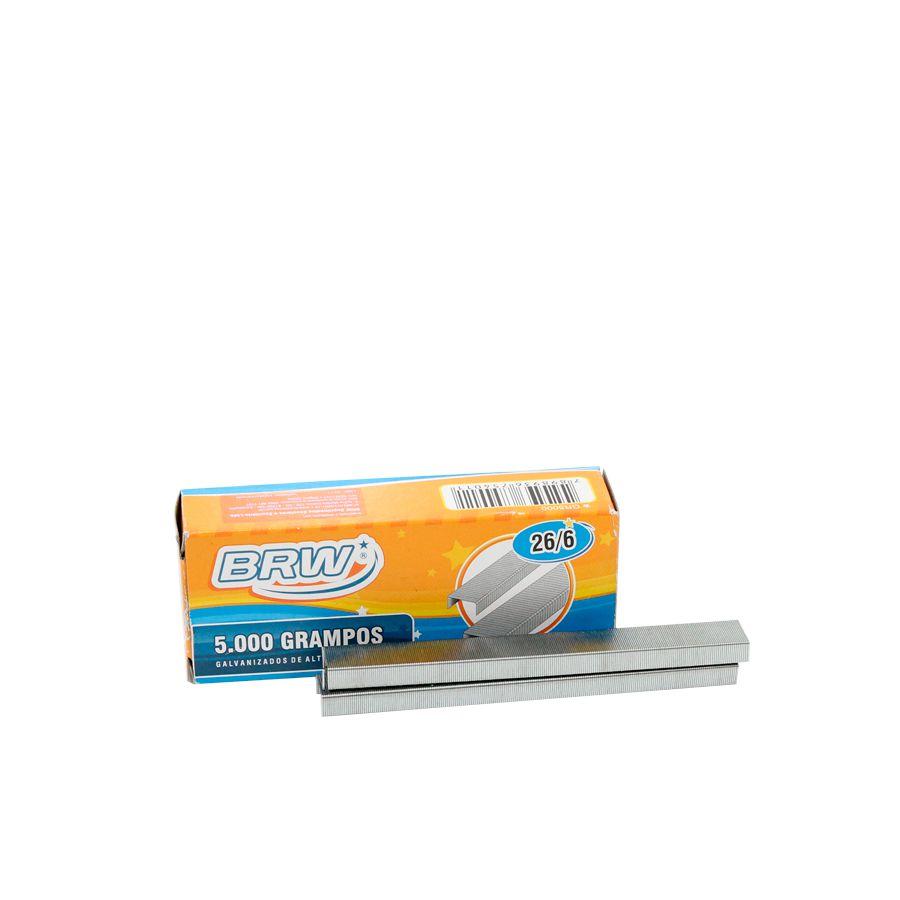 Grampo p/ grampeador 26/6 galvanizado BRW - 1 cx c/ 5.000 unid