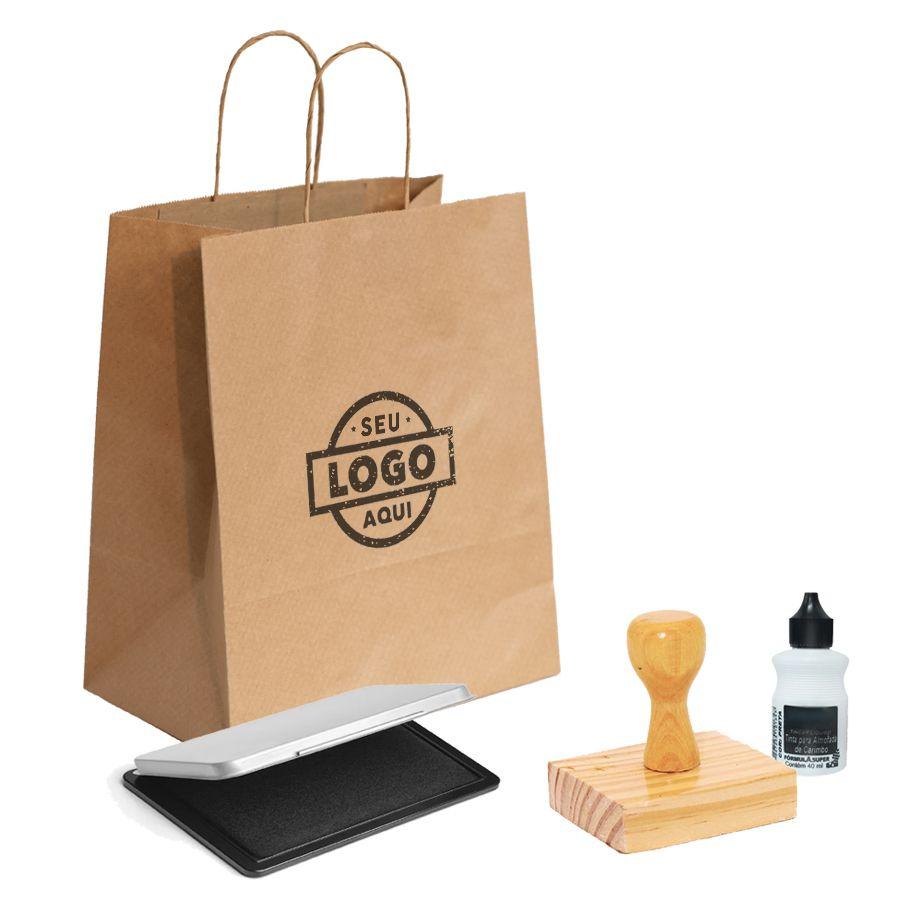 Kit Carimbo G | Tamanho 8x8 cm | (1 Carimbo personalizado + 1 almofada + 1 tinta)