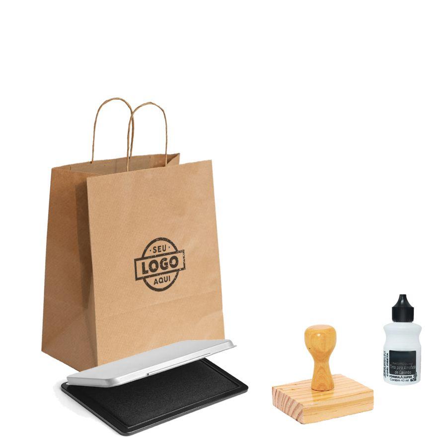 Kit Carimbo M - Tamanho 6x6 cm | (1 Carimbo personalizado + 1 almofada + 1 tinta)