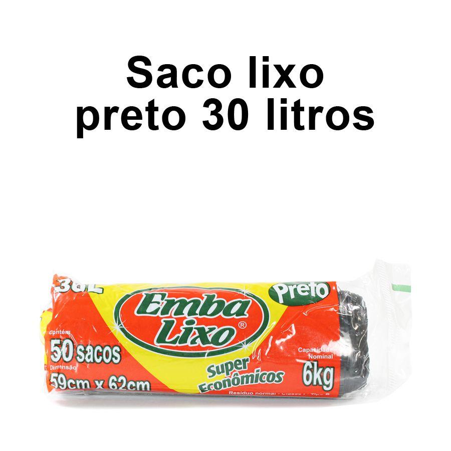 Saco de Lixo de 30 litros - Super Econômico Preto - Embalixo - 1 rolo c/ 50 sacos