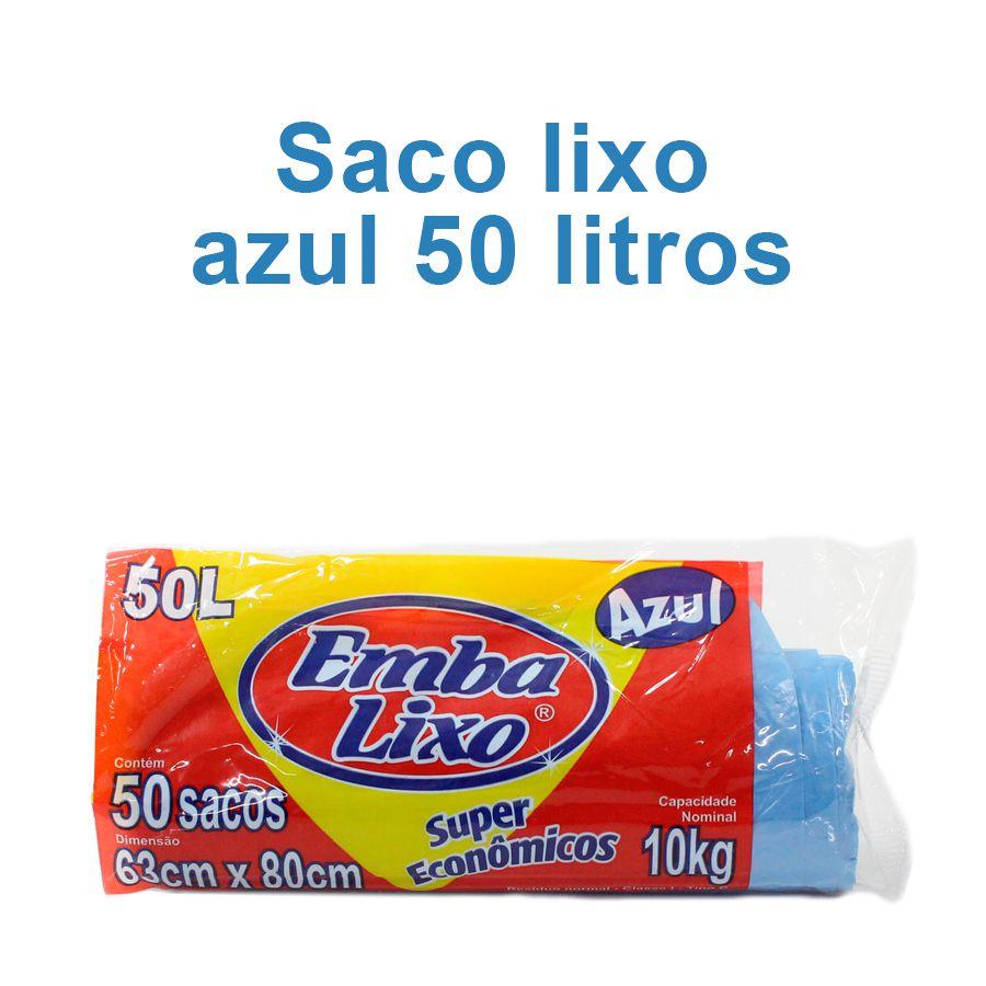 Saco de Lixo de 50 litros - Super Econômico Azul - Embalixo - 1 rolo c/ 50 sacos