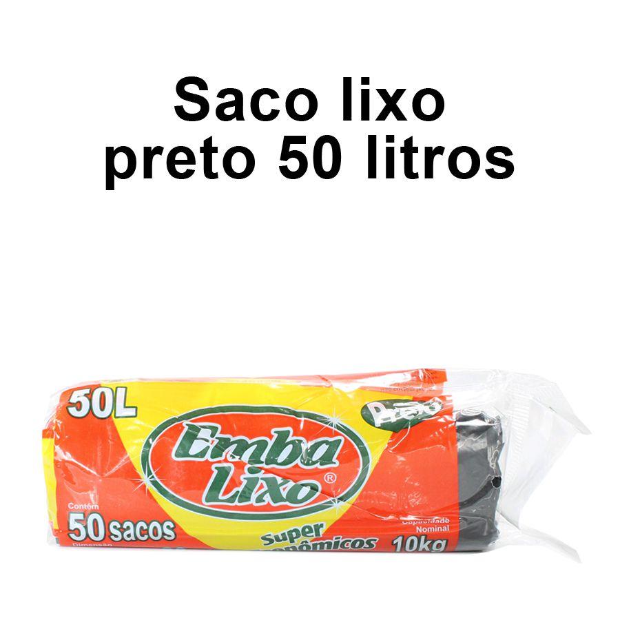 Saco de Lixo de 50 litros - Super Econômico Preto - Embalixo - 1 rolo c/ 50 sacos