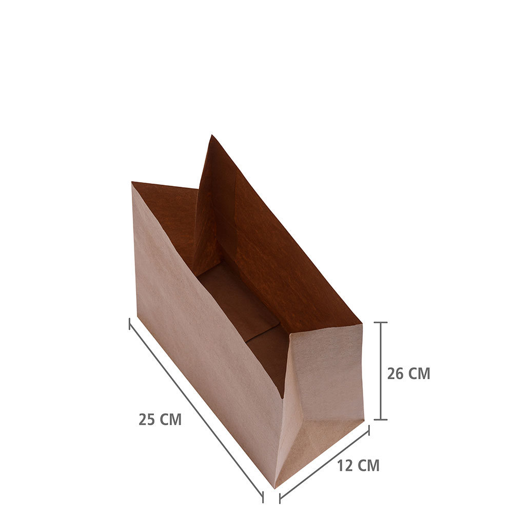 """Saco de Papel Delivery Kraft  """"P"""" 26x25x12 cm   1 cx c/ 200 unid"""