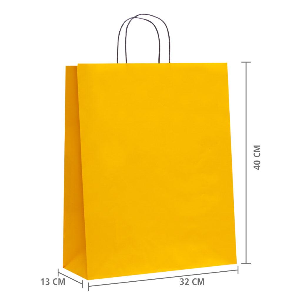 """Sacola de Papel Amarelo """"G"""" 40x32x13 cm   1 cx c/ 150 unid"""