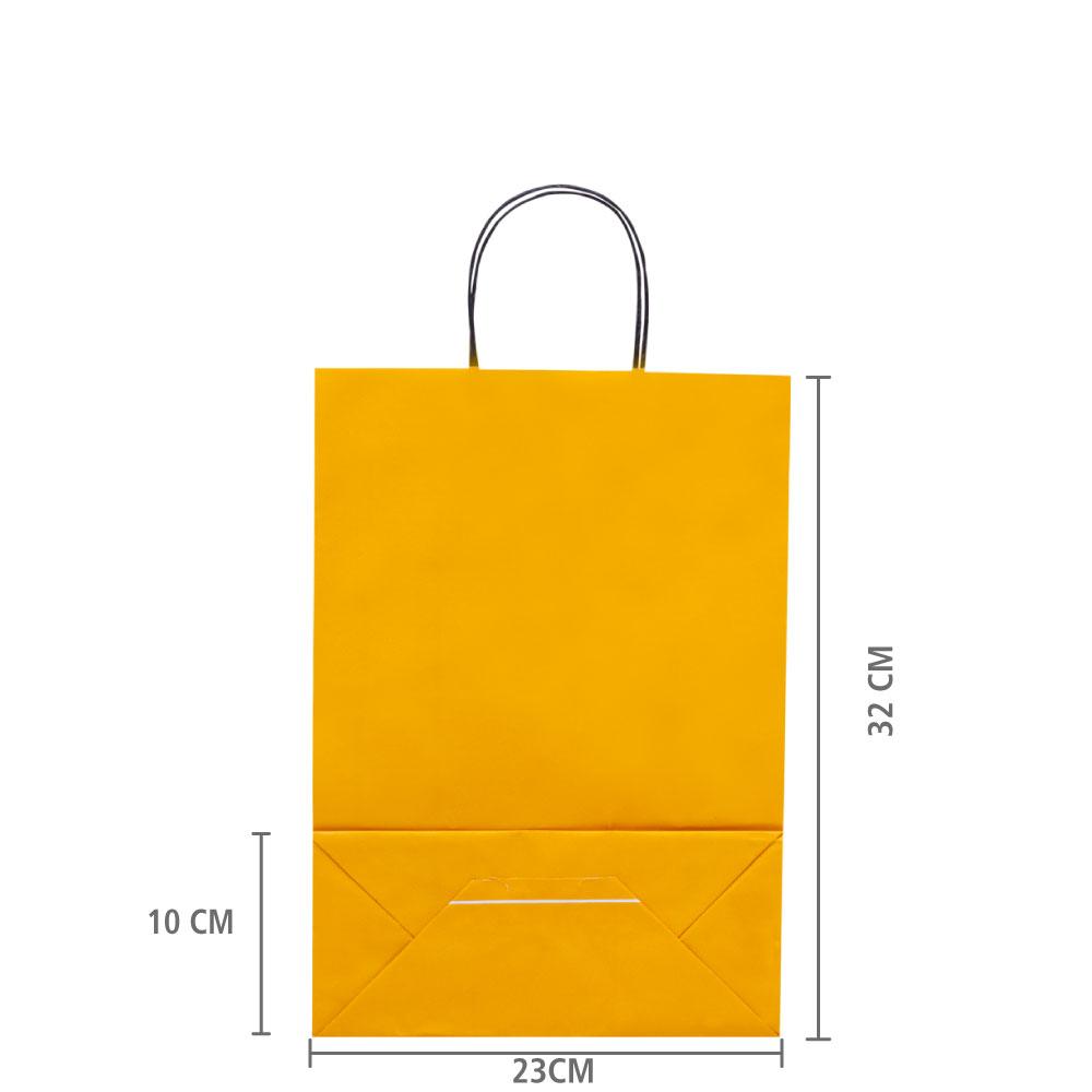 """Sacola de Papel Amarelo """"M"""" 32x23x10 cm   1 cx c/ 200 unid"""