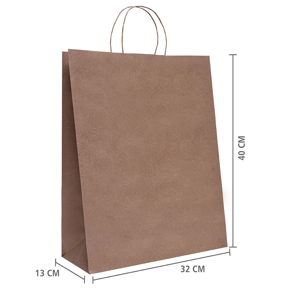 "Sacola de Papel Kraft ""G"" 40x32x13 cm | 1 cx c/ 150 unid  | R$ 1,10 Á UNID"