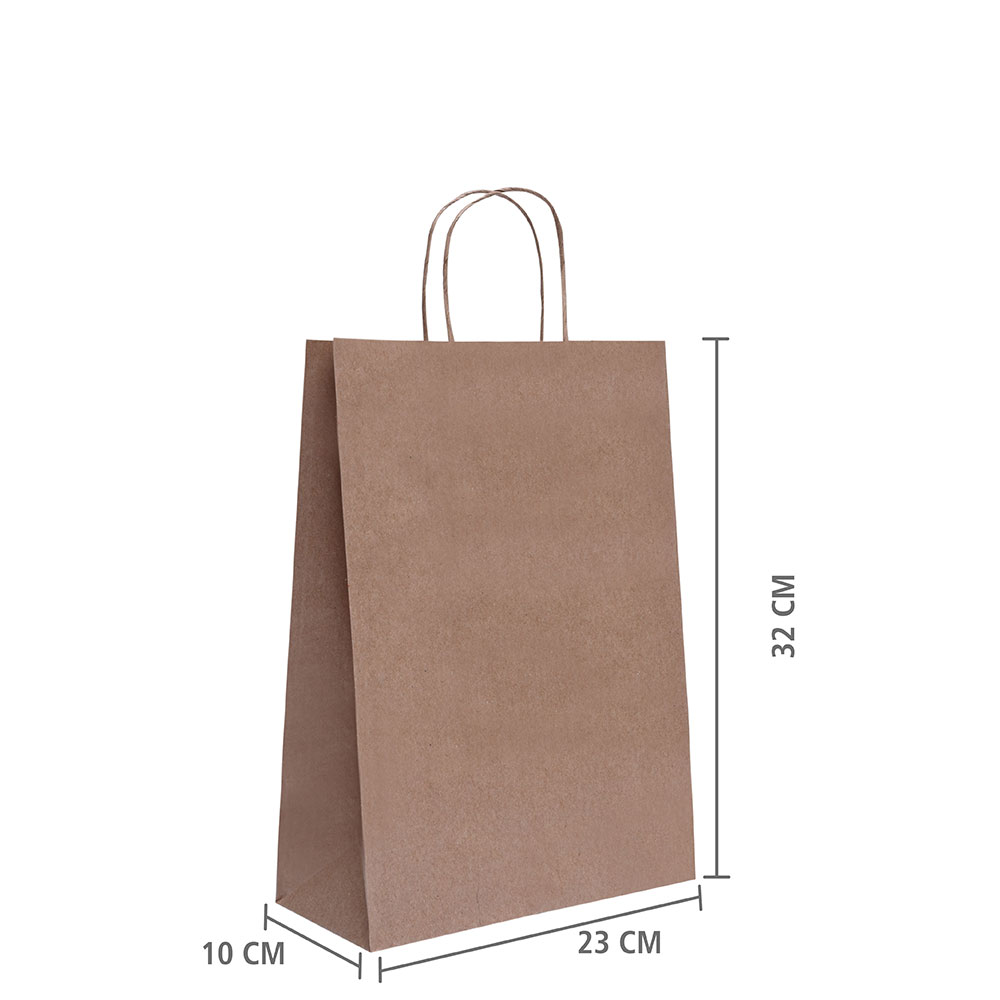 "Sacola de Papel Kraft ""M"" 32x23x10 cm | 1 cx c/ 200 unid          | R$ 0,75 Á UNID"