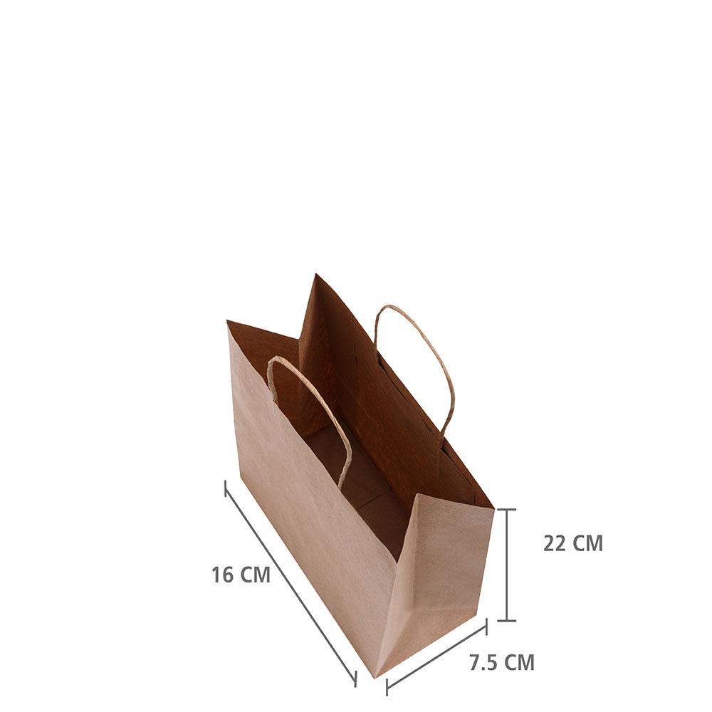 """Sacola de Papel Kraft """"Mini"""" 22x16x7,5 cm   1 cx c/ 150 unid"""