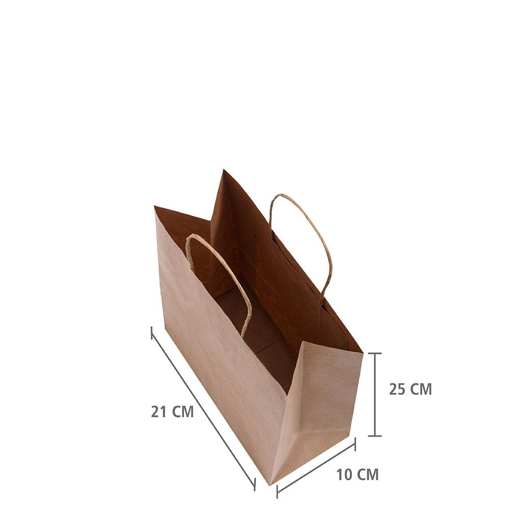 """Sacola de Papel Kraft """"PP"""" 25x21x10 cm   1 cx c/ 200 unid"""