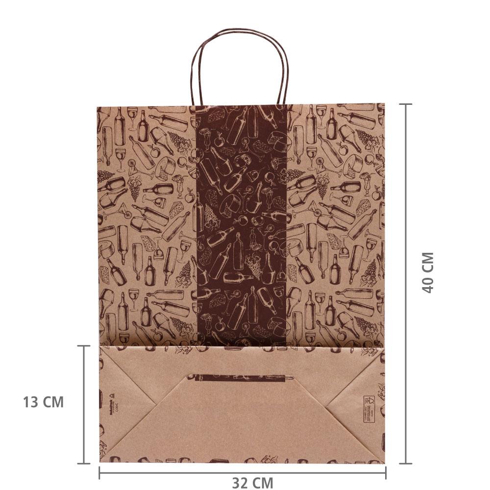 Sacola de Papel Empório 40x32x13 cm | 1 cx c/ 100 unid