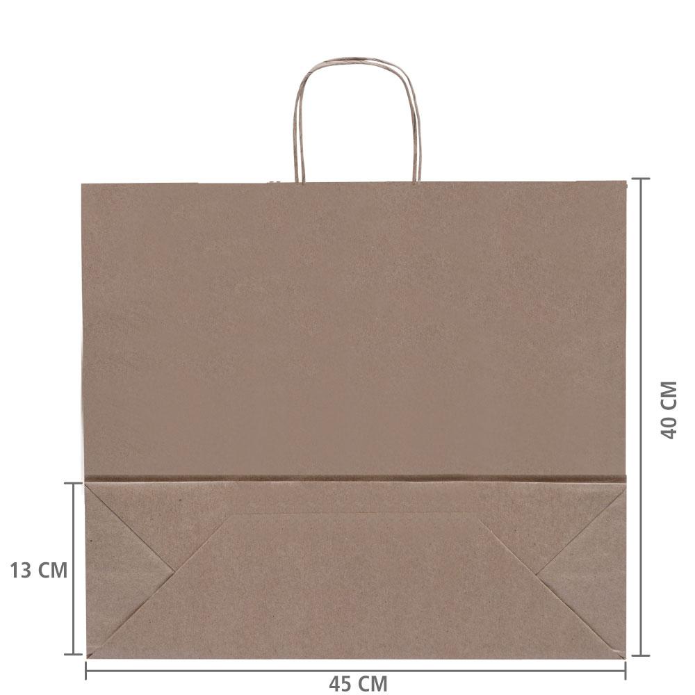 "Sacola de Papel Kraft  Horizontal ""G"" 40x45x13 cm | 1 cx c/ 50 unid|R$ 1,95 Á UNID"