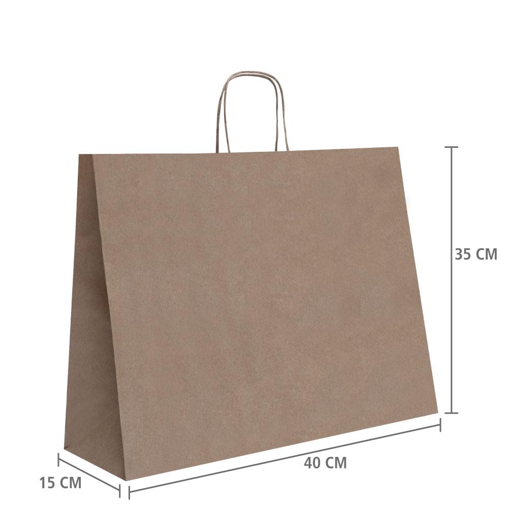 """Sacola de Papel Kraft Horizontal """"M"""" 35x40x15 cm   1 cx c/ 50 unid R$1,61 Á UNID"""