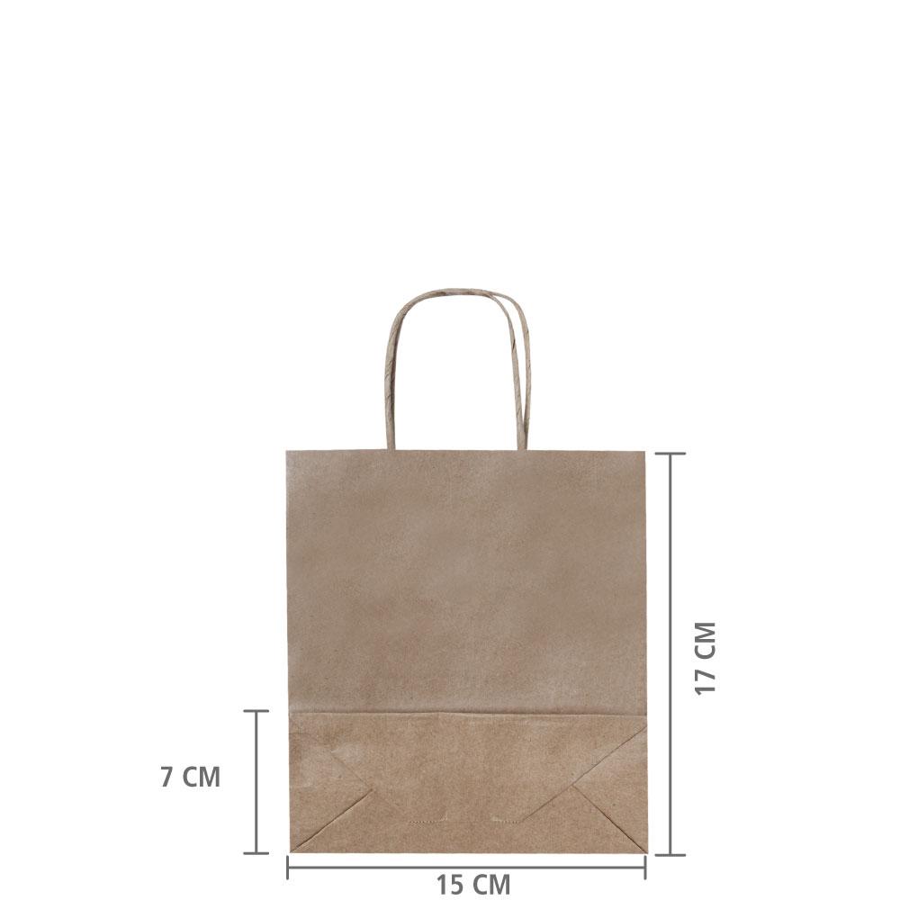 Sacola de Papel Kraft  MIcro 17x15x7 cm | 1 cx c/ 50 unid  R$ 0,52 Á UNID