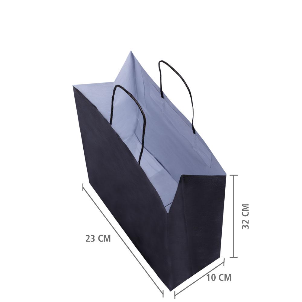 """Sacola de Papel Preto """"M"""" 32x23x10 cm   1 cx c/ 200 unid"""