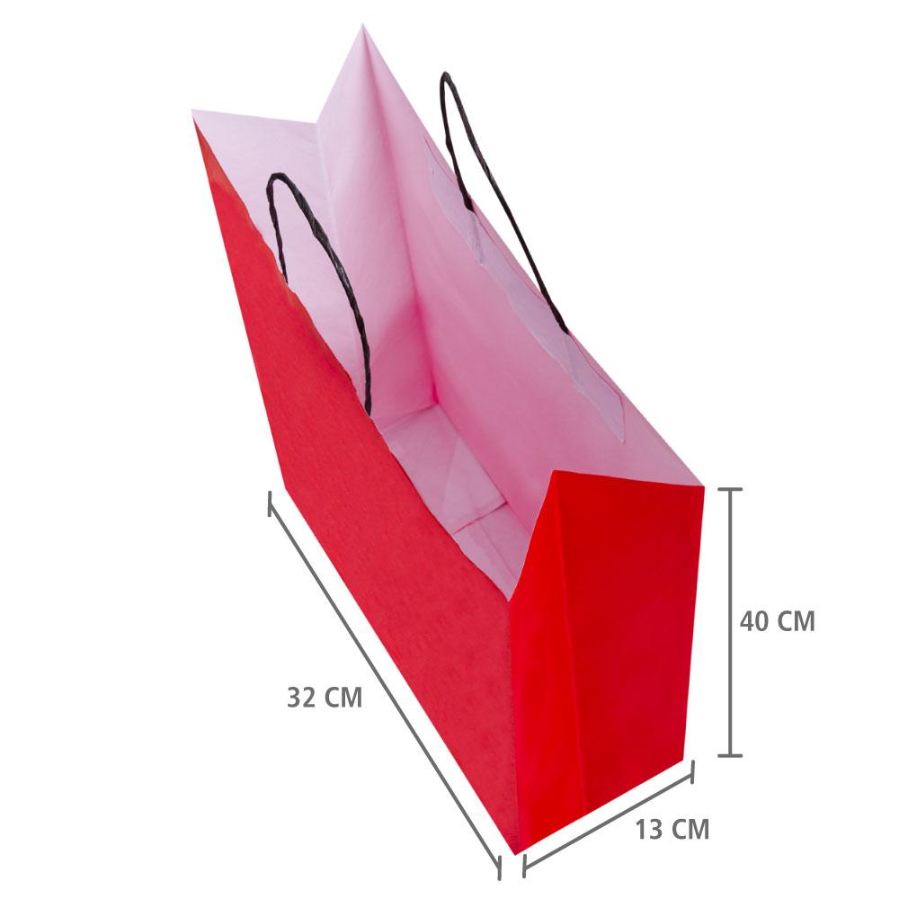 "Sacola de Papel Vermelho ""G"" 40x32x13 cm | 1 cx c/ 150 unid"