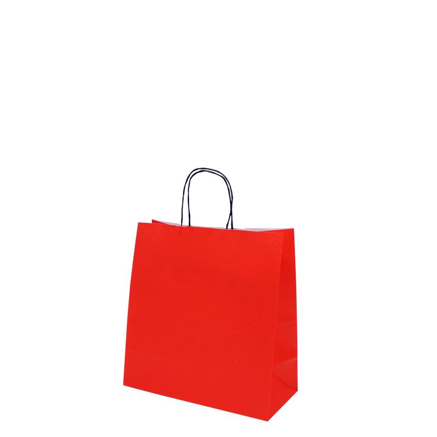 "Sacola de Papel Vermelho ""P"" 26X25X12 CM | 1 CX C/ 200 unid"