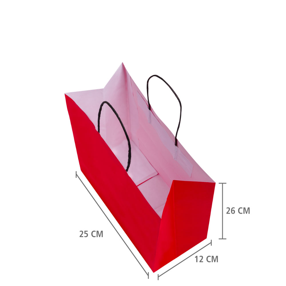 "Sacola de Papel Vermelho ""P"" 26X25X12 CM   1 CX C/ 200 unid"