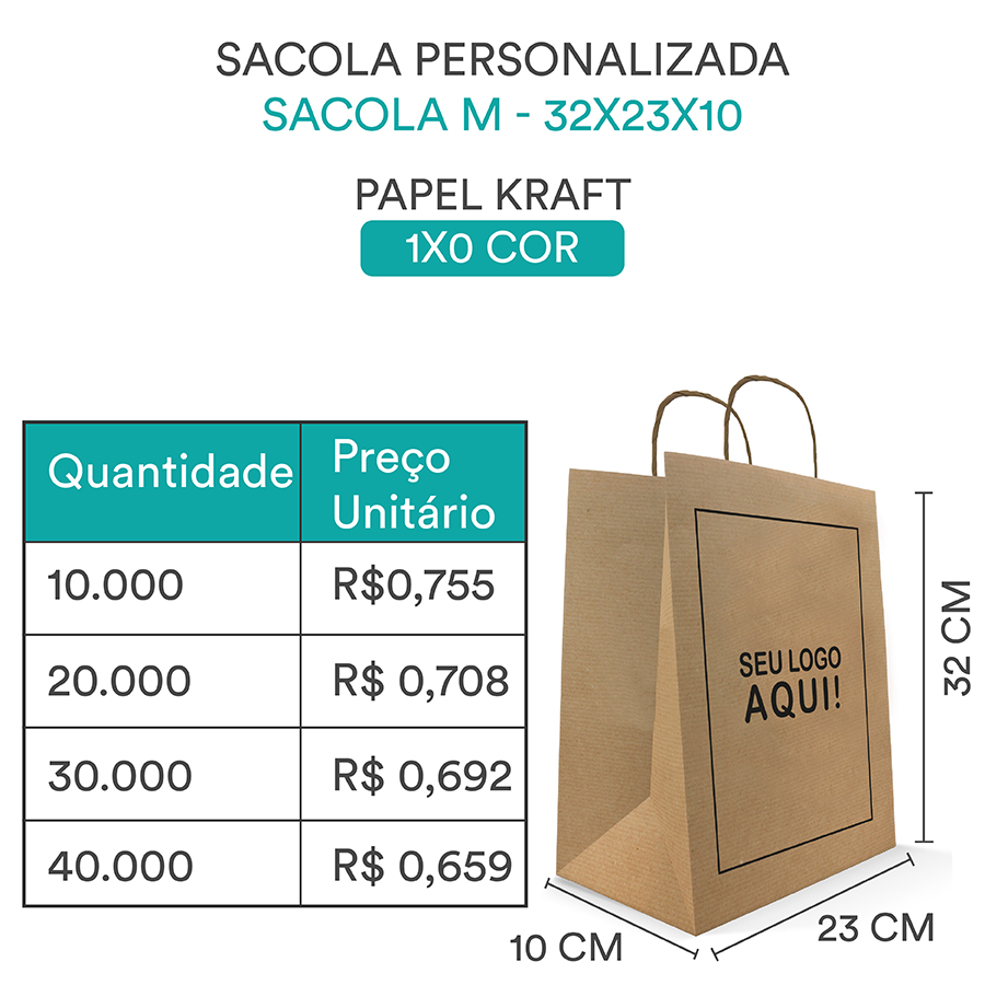 SACOLA PERSONALIZADA PAPEL KRAFT PARDO ¨M¨ - 32x23x10
