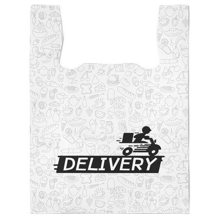Sacola Plástica Delivery 38x50x7  cm | pct c/ 200 unid