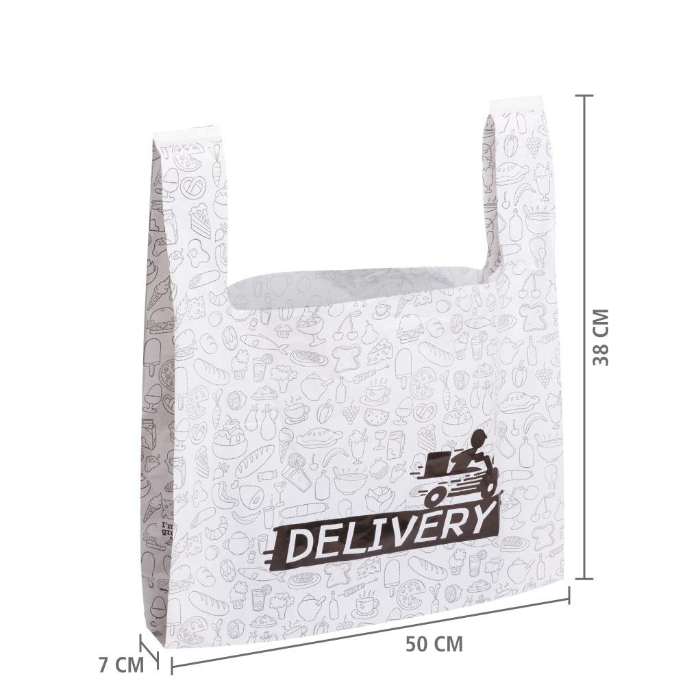 Sacola Plástica Delivery 38x50x7  cm   pct c/ 200 unid