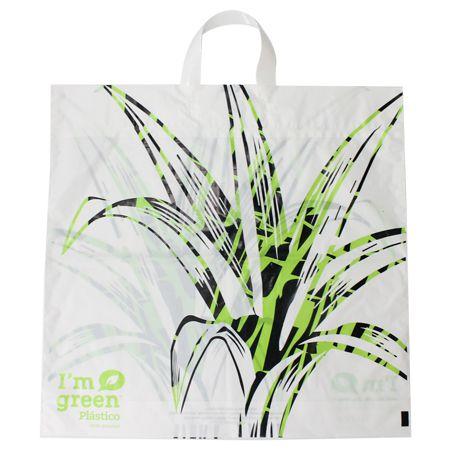 Sacola Plástico Verde Alça Flex G 50x48 cm  Pct c/ 100 unid