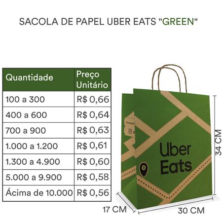 Sacola  Uber Green | 34x30x17 cm  c/ 100 unid