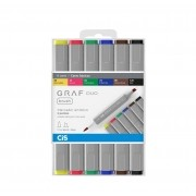 CANETA CIS GRAF BRUSH DUO KIT COM 6 CORES BASICAS