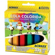 COLA COLORIDA ACRILEX CAIXA C/ 6 CORES 23G